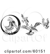 Royalty Free RF Clipart Illustration Of Black And White Tribal Ravens Flying By A Full Moon