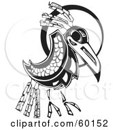 Royalty Free RF Clipart Illustration Of A Black And White Tribal Raven In Front Of A Moon