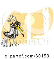 Royalty Free RF Clipart Illustration Of A Tribal Raven Bird On An Orange And White Background
