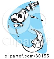 Royalty Free RF Clipart Illustration Of A Black And White Tribal Cow Jumping Over A Crescent Moon