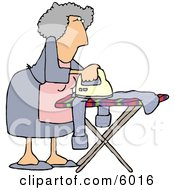 Housewife Ironing Clothes