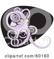 Royalty Free RF Clipart Illustration Of A Giant Purple Octopus On Black And White by xunantunich