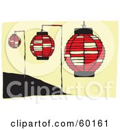 Royalty Free RF Clipart Illustration Of Three Hanging Red Paper Lamps
