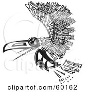Royalty Free RF Clipart Illustration Of A Black And White Tribal Raven Flying