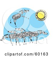 Royalty Free RF Clipart Illustration Of A Herd Of Tribal Zebras Under A Sun