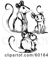 Royalty Free RF Clipart Illustration Of A Group Of Three Socializing Mice by xunantunich