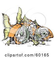 Royalty Free RF Clipart Illustration Of Two Dead Orange And Green Koi Fish