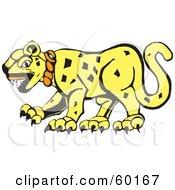 Royalty Free RF Clipart Illustration Of A Tribal Designed Jaguar Cat In Profile