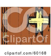 Royalty Free RF Clipart Illustration Of A Tribal Native Wood Carved Mural With A Yellow Cross On Brown
