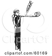 Royalty Free RF Clipart Illustration Of A Monk Writing With A Qill Over A Ledge