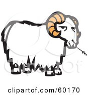 Royalty Free RF Clipart Illustration Of A Grumpy White Goat With Orange Horns Chewing On Straw