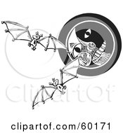 Royalty Free RF Clipart Illustration Of Flying Bats In Front Of A Moon Face Black And White by xunantunich