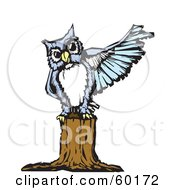 Royalty Free RF Clipart Illustration Of A Blue Owl Perched On A Tree Stump And Pointing With Its Wing by xunantunich