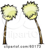 Royalty Free RF Clipart Illustration Of Two Bushy Palm Trees Swaying by xunantunich