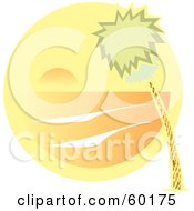Royalty Free RF Clipart Illustration Of A Swaying Palm Tree With An Orange Ocean Sunset Scene by xunantunich