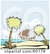 Royalty Free RF Clipart Illustration Of Two Palm Trees Framing An Ocean Scene With A Pirate Ship In The Distance by xunantunich