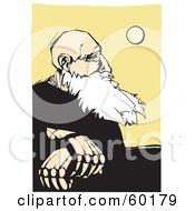 Royalty Free RF Clipart Illustration Of A Wise Old Man With A White Beard Sitting And Pondering The Sun