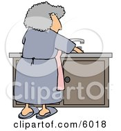 Housewife Cleaning Dirty Dishes
