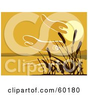 Royalty Free RF Clipart Illustration Of A Silhouetted Reeds Against An Orange Sunset Over A Lake by xunantunich
