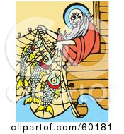 Royalty Free RF Clipart Illustration Of Noah Leaning Over A Ships Edge And Lifting Fish In A Net by xunantunich