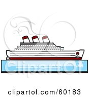 Royalty Free RF Clipart Illustration Of A Steamer Cruise Ship On Still Blue Waters