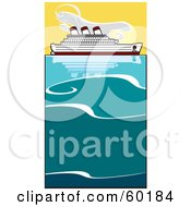 Royalty Free RF Clipart Illustration Of A Cruiseliner On The Ocean by xunantunich