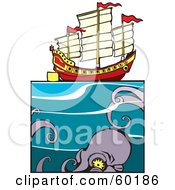Royalty Free RF Clipart Illustration Of A Giant Squid Approaching A Chinese Junk Ship At Sea