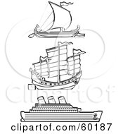 Royalty Free RF Clipart Illustration Of A Digital Collage Of Three Black And White Ships On White by xunantunich