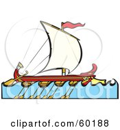 Royalty Free RF Clipart Illustration Of A Sailing Bireme Ship With Paddles On The Side