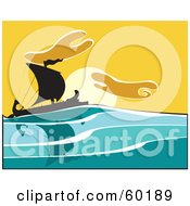 Royalty Free RF Clipart Illustration Of A Silhouetted Bireme Ship Sailing At Sunset by xunantunich