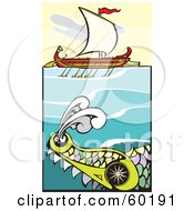 Royalty Free RF Clipart Illustration Of A Giant Sea Monster Swimming Near A Bireme Ship by xunantunich