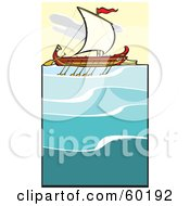Royalty Free RF Clipart Illustration Of A Sailing Bireme At Sea by xunantunich