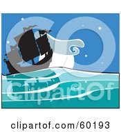 Royalty Free RF Clipart Illustration Of A Silhouetted Chinese Junk Ship Sailing At Night