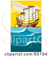 Royalty Free RF Clipart Illustration Of A Sailing Chinese Junk Ship by xunantunich