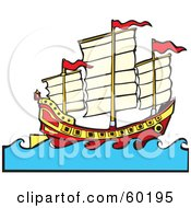 Royalty Free RF Clipart Illustration Of A Chinese Junk Ship Sailing At Sea