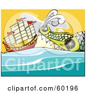 Royalty Free RF Clipart Illustration Of A Giant Sea Monster Swimming Towards A Chinese Junk Ship