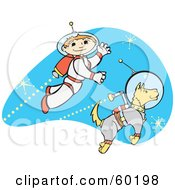 Royalty Free RF Clipart Illustration Of A Space Boy Using A Jet While Exploring The Universe With A Dog by xunantunich