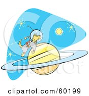 Royalty Free RF Clipart Illustration Of An Astronaut Space Dog Jetting Around A Planet In Space by xunantunich
