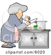 Housewife Preparing A Meal For Dinner Clipart Picture by Dennis Cox