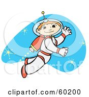 Royalty Free RF Clipart Illustration Of A Space Boy Using A Jet While Exploring The Universe by xunantunich