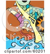 Royalty Free RF Clipart Illustration Of Jonah Diving Into The Whales Mouth by xunantunich