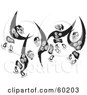 Royalty Free RF Clipart Illustration Of Three Black And White Leaping Monkeys