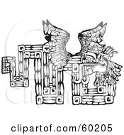 Royalty Free RF Clipart Illustration Of A Black And White Tribal Design Of The Mayan Serpent God Kukulkan