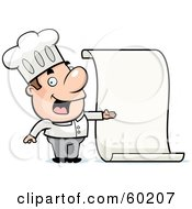 Royalty Free RF Clipart Illustration Of A John Man Character Chef Proudly Presenting A Blank Menu