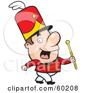 Royalty Free RF Clipart Illustration Of A John Man Character Conductor Marching With A Wand by Cory Thoman