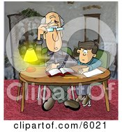 Dad Helping Son With Homework Clipart Picture by Dennis Cox