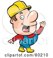 Royalty Free RF Clipart Illustration Of A John Man Character Construction Worker Waving by Cory Thoman