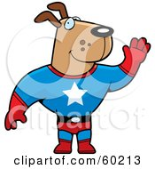 Royalty Free RF Clipart Illustration Of A Brown Doggy Character Super Hero Waving by Cory Thoman