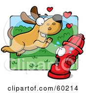 Royalty Free RF Clipart Illustration Of An Amorous Max Dog Character Running Towards A Scared Fire Hydrant by Cory Thoman