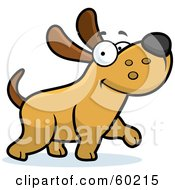 Royalty Free RF Clipart Illustration Of A Happy Max Dog Character Walking by Cory Thoman